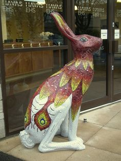 Flame the Phoenix Wayfarer | Baobab Tree Mosaics 5 ft hare mosaic sculpture mosaicked as part of the Cirencester Hare festival running from March 2014 - September 2014