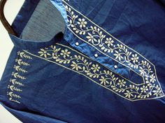 Blue Viking dress spring shirt mens kurta Indian tunic long sleeve hand embroidered cotton caftan top gypsy clothing bohemian beach wedding