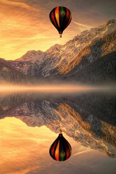 Hot Air Balloon and Morning Fog / Amazing Pictures