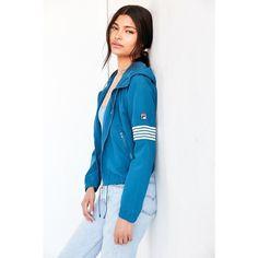 FILA + UO Hooded Windbreaker Jacket ($108) ❤ liked on Polyvore featuring activewear, activewear jackets, fila and fila sportswear