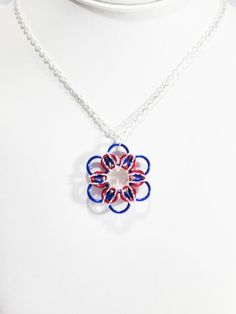 Patriotic Jewelry Patriotic Necklace Red White by VeeVeesCreations