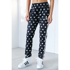 """Adidas Polka Dot Track Pants •Polka dots bring whimsical charm to these sporty-chic track pants featuring convenient zippered ankles and adidas' classic 3-stripes down each leg.  •Size Medium: 30 1/2"""" inseam; 12"""" leg opening; 9 1/2"""" front rise; 13 1/2"""" back rise.   •New with tag.  •NO TRADES/PAYPAL/MERC/HOLDS/NONSENSE. Adidas Pants Track Pants & Joggers"""