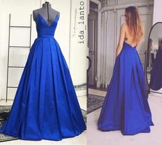 Ida Lanto Royal Blue Long Evening Dresses Spaghetti Straps V Neck With Criss Cross Backless A-Line Simple Prom Gowns Real Photos