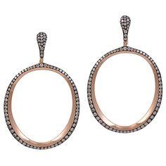 1stdibs.com   Chocolate Diamond Hoop  Earrings