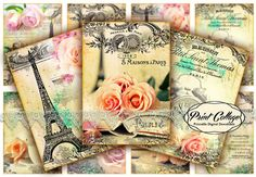 Rose images, Flower, Paris Digital Collage Sheet Designed Gift Tags and Cards for Scrapbooking Printable Paper for Jewelry Holders Tags Printable Scrabble Tiles, Printable Paper, How To Make Coasters, Rose Images, Paris, Digital Collage, Collage Sheet, Vintage Flowers, Digital Scrapbooking