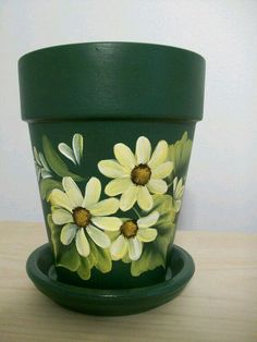 Hand-painted Green Clay Pot with Yellow Daisies. Flower Pot Art, Flower Pot Design, Clay Flower Pots, Flower Pot Crafts, Clay Pots, Cactus Flower, Clay Pot Projects, Clay Pot Crafts, Painted Plant Pots