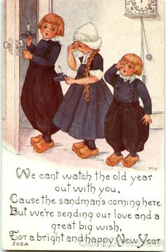 1919 vintage happy new year postcard