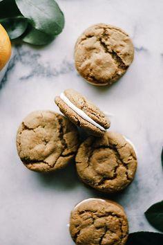 Meyer Lemon Cream Filled Ginger Cookies