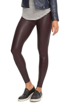 These faux leather leggings are a must for fall! The slick finish and red wine color add an extra dose of edge.