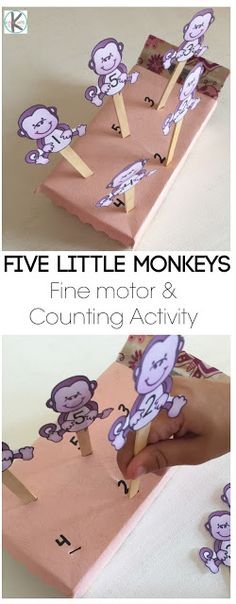 5 little monkeys nursery rhyme activity for kindergarten. Or harvest (farm)theme. pictures of vegetables on sticks Nursery Rhyme Crafts, Nursery Rhymes Preschool, Nursery Rhyme Theme, Nursery Activities, Rhyming Activities, Preschool Songs, Kindergarten Activities, Preschool Activities, Nursery Rhymes For Toddlers