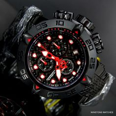 Invicta The Subaqua Black Label Red Swiss Mvt Chronograph Steel Watch New Mvmt Watches, Cool Watches, Patek Philippe, Tag Heuer, S Shock Watch, Devon, Cartier, Omega, Graffiti Pictures