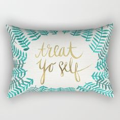 Buy Treat Yo Self – Gold & Turquoise Rectangular Pillow by Cat Coquillette. Worldwide shipping available at Society6.com. Just one of millions of high quality products available.