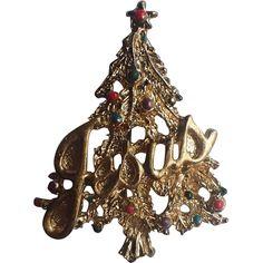 RARE Jesus Word Christmas Tree Pin ~ Book Piece - RARE Jesus Word Christmas Tree Pin ~ Book Piece