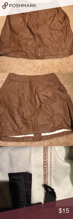 Brown faux leather zip front skirt h&m Worn H&M Skirts