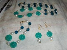 """Teal Green """"Flowers And Beads"""" 3 piece set --- LIMITED QUANTITY --- $7.00 + $3.00 SHIPPING IN THE USA"""