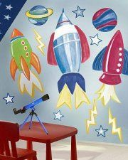 Rocket to the moon with a set of Rocket Ship Wall Stickers from WolfStock UK