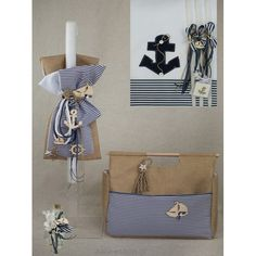 Greek navy baptismal set for boys, with anchors, boat hanging, tied with nautical rope. Nautical Baptism, Nautical Rope, Boy Baptism, Christening, Greek Wedding, Baptism Invitations, Wedding Favors, Candles, Navy