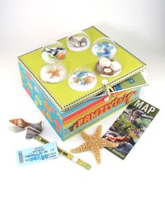 Vacation Keepsake Box I like this idea as a gift, but I also think it would be fun to decorate this as a box to hold your favorite Christmas cards for those of us who save/recycle them. Diy Crafts For Kids, Fun Crafts, Arts And Crafts, Paper Crafts, Craft Ideas, Adult Crafts, Fun Ideas, Craft Projects, Picture Storage