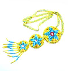 Vintage Bead Necklace, Yellow Native American Beadwork...if i can figure out how to make it..