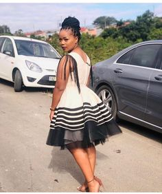 Xhosa Inspired Sleeveless Short Dress With Tassels and Tulle South African Traditional Dresses, Traditional Dresses Designs, Traditional Outfits, Zulu Traditional Attire, Traditional Weddings, African Wear, African Attire, Seshweshwe Dresses, Nice Dresses