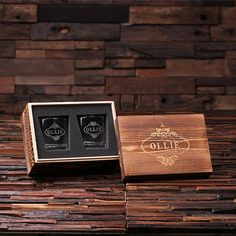 Personalized 8 oz. whiskey scotch glasses with engraved wood box. We can engrave anything you need on the glasses and box. Box Size: 8 x 5.5 x 5