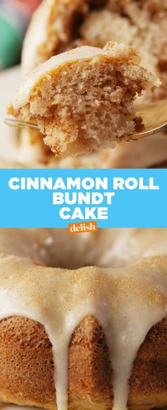 This cinnamon roll bundt cake is the best thing to happen to breakfast. Get the recipe at Delish.com. #cinnamon #cinnamonroll #cinnamonsugar #cinnamonbun #bundt #bundtcake #icing #breakfast #brunch #recipe #easyrecipe #delish
