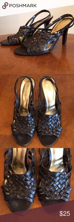 Lauren Ralph Lauren sandals Sling back Lauren Ralph Lauren heels. Size 10. Worn once. Brown leather with wood heel. Very easy to walk in. Lauren Ralph Lauren Shoes Heels
