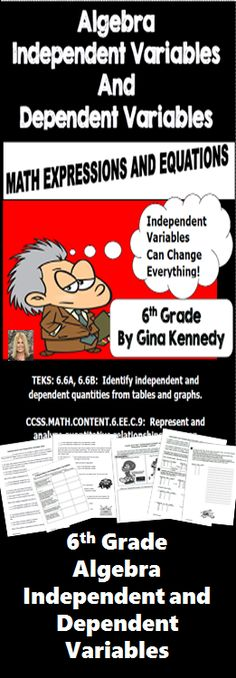 NO-PREP 6th Grade Algebra Independent and Dependent Variables Lesson, Practice Activities and Review. Aligned to the STAAR TEKS 6.6BA, 6.6B and CCSS Standard 6.EE.C.9!   Great lessons for identifying independent and dependent quantities from tables and graphs and representing and analyzing quantitative relationships between dependent and independent variables.$