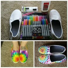 A pair of canvas shoes and Sharpie markers would keep the kids occupied for a few! tye dye shirts with paint Diy Tie Dye Shoes, How To Dye Shoes, How To Tie Dye, Diy Tie Dye Keds, Sharpie Shoes, Sharpie Tie Dye, Sharpie Markers, Sharpie Canvas, Sharpie Art