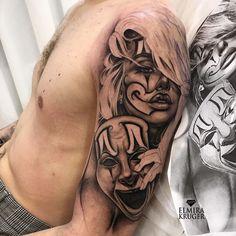 Gangster Tattoos, Dope Tattoos, Pretty Tattoos, Skull Tattoos, Body Art Tattoos, Female Tattoos, Chicano Tattoos Sleeve, Chicano Style Tattoo, Best Sleeve Tattoos