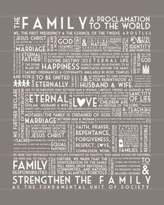 Family Proclamation - LOVE THIS