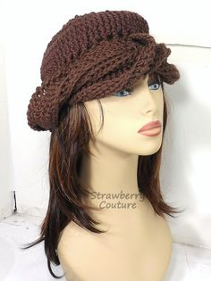 Crochet Hat Womens Hat Trendy Crochet Womens Turban Hat Crochet Beanie Hat Brown Beanie Brown Hat SAMANTHA Turban Hat by strawberrycoutureby #strawberrycouture on #Etsy