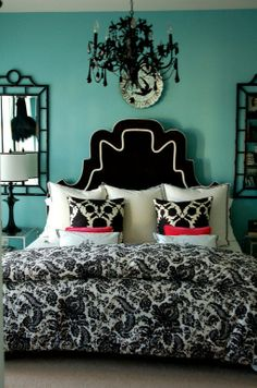 this is EXACTLY how i want my room. switching from pink to a classier teal.