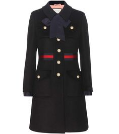 Gucci - Wool coat - Embellished with the label's signature striping to the… Gucci Coat, Gucci Dress, Gucci Gucci, Gucci Black, Burberry, Black Wool Coat, Suits You, Silhouette, Dresses With Sleeves