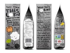 This Corn designed by Peter Gregson Studio  This Corn – Naming, identity & packaging design for gourmet cattle popcorn for The Snackatere Corp. by PGS team.