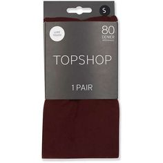 TopShop Burgundy 80 Denier Tights (£6) ❤ liked on Polyvore featuring intimates, hosiery, tights, opaque tights, burgundy tights, opaque pantyhose and opaque stockings