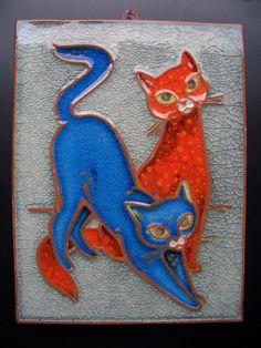 Katzen ,Karlsruher Majolika, Wandfliese Wandkachel Bild Katze