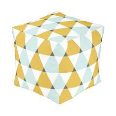 Modern Geometric Mint Yellow Triangles Pattern Cube Pouf
