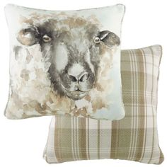 Watercolour Sheep Piped Cushion - A Bentley Cushions Watercolor Animals, Watercolour, Spindle Chair, Sheep Crafts, Rooster Decor, Sheep And Lamb, Printed Cushions, Seat Pads, Cushion Pads