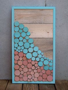 Reclaimed Wood Slice Abstract Landscape Painting in Turquoise & Coral.  via Etsy.
