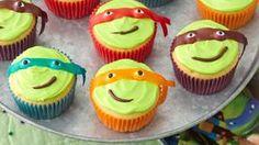 Minion Cupcakes Recipe - BettyCrocker.com Ninja Turtle Party, Ninja Turtle Cupcakes, Minion Cupcakes, Ninja Turtle Birthday, Turtle Cakes, Sonic Birthday, Birthday Star, Birthday Cupcakes, Cupcake Recipes