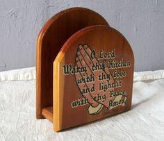 Vintage Napkin Holder, Wood Napkin Holder, Vintage Kitchen.