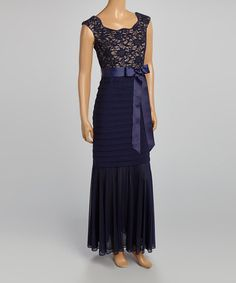 Another great find on #zulily! Navy & Taupe Lace Cap-Sleeve Gown - Women by R&M Richards #zulilyfinds