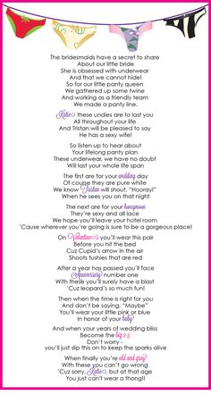 Panty Poem for Lingerie Bachelorette Party! Too cute and funny ! Funny Bridal Shower Gifts, Bridal Shower Games, Bridal Showers, Bachlorette Party, Bachelorette Party Games, Nautical Bachelorette, Bustiers, Lingerie Party, Panty Party