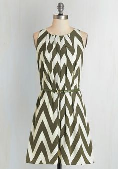 6499a051 Great Wavelengths Dress in Olive | Mod Retro Vintage Dresses | ModCloth.com  Chevron Dress