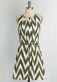 Great Wavelengths Dress in Olive   Mod Retro Vintage Dresses   ModCloth.com