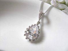 Clear Cubic Zirconia Teardrop Bridal Necklace - Bridal Jewelry, Bridal Necklace, Bridemaids Necklace, Wedding Gift. $28.00, via Etsy.