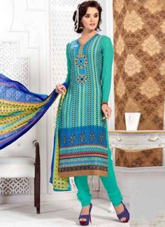 Buy Turquoise Embroidery Work French Crepe Designer Printed Churidar Suit http://www.angelnx.com/Salwar-Kameez/Churidar-Suits