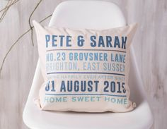 A unique and personalised cushion to celebrate a new home!