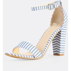 SheIn(sheinside) Striped Ankle Stripe Heels BLUE WHITE (360.180 IDR) ❤ liked on Polyvore featuring shoes, chunky high heel shoes, peep-toe shoes, peep toe shoes, peeptoe shoes and chunky shoes